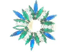 Fabulous Bright Green Bright Blue and Light Blue Brooch Vintage Pin Navette Rhin