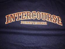 Adult Mens Size M Medium Intercourse Pennsylvania PA Town Blue TEE T-Shirt