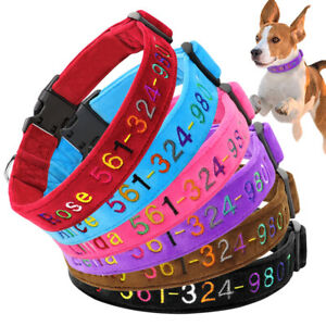 Custom Personalized Embroidered Dog Collar Soft Fleece Colorful Pet Name Number