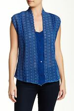 NWT Johnny Was Large Eyelet Vest in Blue Floral Embroidered Sheer Top S $198