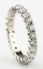 1.40 Carat Round Diamond Platinum Eternity Band Size 4.75