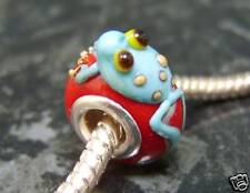 Blue lampwork glass frog on red EUROPEAN charm bead