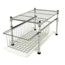 Basket Organizer Storage Set Wire Shelf Sink Kitchen Chrome Steel Cabinet Holder