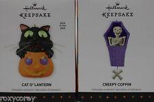 Halloween Hallmark 2013 Cat O'Lantern & Creepy Coffin Ornaments NIB