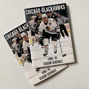 2 Chicago Blackhawks 1996 / 1997 Foldable Pocket Schedule — Vintage