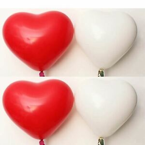 """10"""" inch Red & White Heart Shape Balloons Valentines Special Decorations Ballons"""