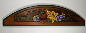 Wood Farmhouse Blessing Sign Engraved Arch Door Wall Hanging Picture Floral Home