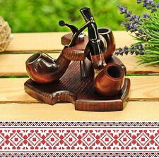 Sale Set of 3 Tobacco Pipes Pear Wood + Stand Holder Ash Wood Handmade NEW