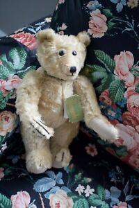 Harrods Knightsbridge Joints Teddy Bear Mohair Beige Green Ribbon Bow 12 inches