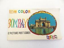 Vintage Technicolor Bombay 12 Postcard Picture Album Book Booklet India Old