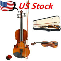 Size 3/4 Perfect Acoustic 11-12 years old kids Violin+Case+Bow+Rosin Natural US