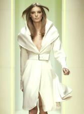Gianni VERSACE 2005 Runway Ivory Shawl Collar Belted Jacket Coat US 8 10 / IT 46