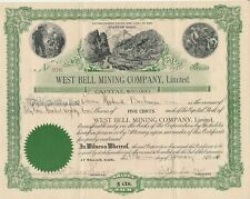 West Bell Mining Company, Limited. - Stock Certificate 1915 Scripophily