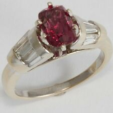 14k white gold 1.7ct Purple Red Spinel and .78ctw diamond ring sz 6.5