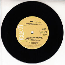 """ABBA  Does Your Mother Know 7"""" 45 rpm vinyl record + juke box title strip"""