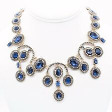 Signed Oscar de la Renta Sapphire Blue Chandelier Crystal Gold Necklace