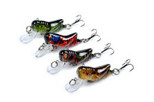 4pcs Lot Paint Fishing Lures Cricket Insect Crank Bait Tackle Poper 4.5cm 3.4g