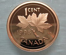 1998 CANADA 1 CENT HEAVY CAMEO PROOF PENNY COIN
