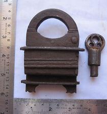 An old Iron screw type key padlock lock very unusual decorative shape colectible