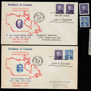 1955  #357 4¢ & #358 5¢  PRIME MINISTER ISSUE COMBINATION FDC F-VF+ MINT STAMPS