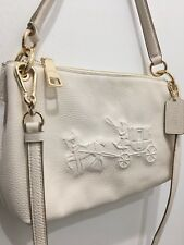 *NWT* Coach Embossed Horse and Carriage Charley crossbody Bag F33521 Chalk