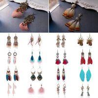 Boho Statement Feather Tassel Long Dangle Drop Hook Ear Stud Earrings Women New