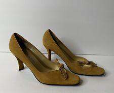 Bellini Size 7M Women's Mustard Yellow City Heels Bow 3.25 inch heel