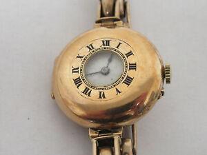 9ct / 375 Gold Hallmarked Half Hunter Wristwatch with Gold Plated Strap