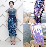 Runway Street Style Oversized Sequin Iridescent Holographic Pencil Midi Skirt