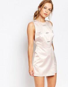 Keepsake Embellished Mini Shift Evening Dress in Shell Size S UK 8/EU 36/US 4