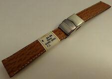New ZRC France Tan Shark 20mm Watch Band Steel Deployment Sealock Clasp $34.95