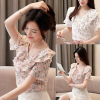 Fashion Summer Women V Neck Ruffle Floral Short Sleeve Chiffon Shirt Blouse Tops