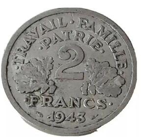 France 1943 2 Francs Coin World Coin WW2 Coin Foreign Money