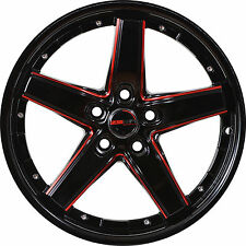 4 GWG Wheels 17 inch Black Red DRIFT Rims fits 5x120 BMW 3 SERIES 2 DOOR (E46)