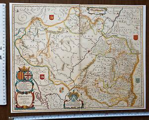 Historic Antique vintage old Colour Blaeu Map Aragon, Spain 1600s REPRINT