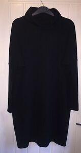 Ladies Dress Size 10 By Warehouse Black Oversized Jumper Dress Roll Neck