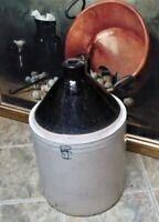 Primitive Antique Stoneware 5 Gallon Salt Glazed Crock Lrg MOONSHINE Jug &Handle