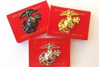 "US Marine Corps Left Cap Gold Emblem WW2 USMC 1-3/4"" Lapel / Hat Pin 3 PACK !!"