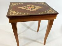 """Vintage 16"""" Italy Daisy Poppy Floral Inlay Wood Love Story Music Box End Table"""