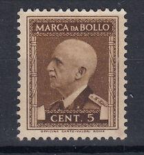 1939 VITTORIO EMANUELE III MARCA DA BOLLO 5 CENT SENZA GOMMA MOLTO RARA PERFETTA