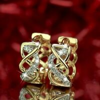 18k yellow gold gf huggies made with Swarovski crystal earrings twisted pattern