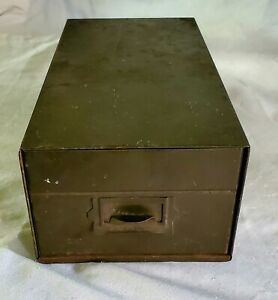 Vintage Industrial Metal Card Box/ Cabinet  OLIVE GREEN