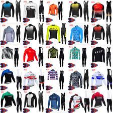 2020 Mens Cycling Long Sleeve Jersey Bib Pants Set Bicycle Uniform Bike Outfits