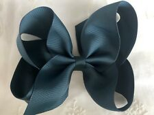 School Hair Bows-bottle Green HollyBow 6 inch Large Hair Clip Accessory Headband