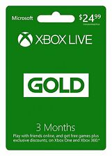Microsoft Xbox LIVE 3 Month Gold Membership for Xbox 360/XBOX ONE