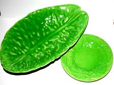 Pair Of Lettuce Style Salad Dishes Made England Long Serving Dish & Round Dish
