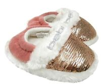 KIDS GIRLS BEBE SPARKLE SLIPPERS INFANTS FUR LINED SLIPPER SHOES SIZE
