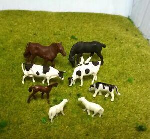 1:87 Scale HO/OO Gauge 00 Model Railway 8 Mixed Farm Animals, Cows, Horses,Sheep