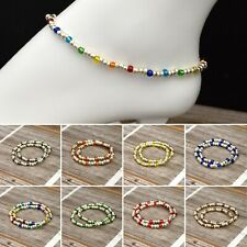 Bracelet - Silver Collection Glass Beads Stretch Ankle