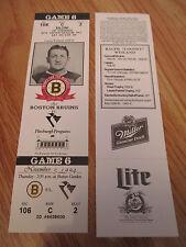 Game 6 COONEY WEILAND Last Season BOSTON BRUINS 11/3/94 TICKET Boston Garden